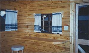 interior of rental cabin